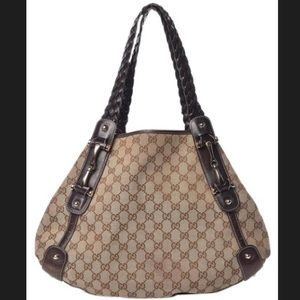 Gucci Pelham Monogram Dark Brown Canvas Hobo Bag